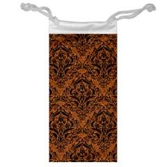 Damask1 Black Marble & Rusted Metal Jewelry Bag by trendistuff