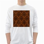 DAMASK1 BLACK MARBLE & RUSTED METAL White Long Sleeve T-Shirts