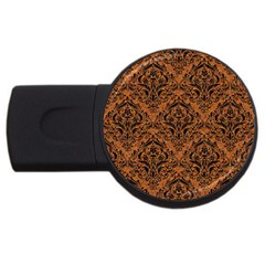 Damask1 Black Marble & Rusted Metal Usb Flash Drive Round (4 Gb) by trendistuff