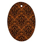 DAMASK1 BLACK MARBLE & RUSTED METAL Oval Ornament (Two Sides)