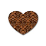 DAMASK1 BLACK MARBLE & RUSTED METAL Rubber Coaster (Heart)