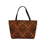 DAMASK1 BLACK MARBLE & RUSTED METAL Shoulder Handbags