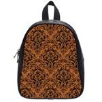 DAMASK1 BLACK MARBLE & RUSTED METAL School Bag (Small)