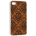 DAMASK1 BLACK MARBLE & RUSTED METAL Apple iPhone 4/4s Seamless Case (White)