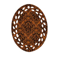 Damask1 Black Marble & Rusted Metal Ornament (oval Filigree) by trendistuff