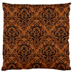 DAMASK1 BLACK MARBLE & RUSTED METAL Large Cushion Case (One Side)