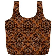 Damask1 Black Marble & Rusted Metal Full Print Recycle Bags (l)  by trendistuff
