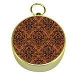 DAMASK1 BLACK MARBLE & RUSTED METAL Gold Compasses
