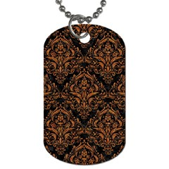 Damask1 Black Marble & Rusted Metal (r) Dog Tag (one Side) by trendistuff