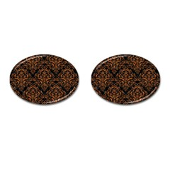 Damask1 Black Marble & Rusted Metal (r) Cufflinks (oval) by trendistuff
