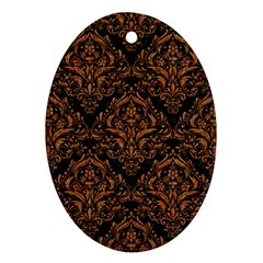 Damask1 Black Marble & Rusted Metal (r) Oval Ornament (two Sides) by trendistuff