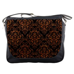 Damask1 Black Marble & Rusted Metal (r) Messenger Bags by trendistuff