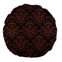 Damask1 Black Marble & Rusted Metal (r) Large 18  Premium Flano Round Cushions by trendistuff