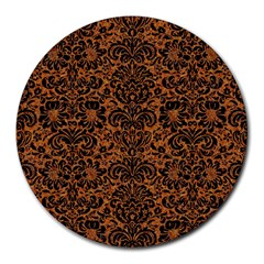 Damask2 Black Marble & Rusted Metal Round Mousepads by trendistuff