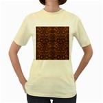 DAMASK2 BLACK MARBLE & RUSTED METAL Women s Yellow T-Shirt