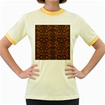 DAMASK2 BLACK MARBLE & RUSTED METAL Women s Fitted Ringer T-Shirts