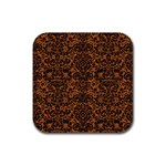 DAMASK2 BLACK MARBLE & RUSTED METAL Rubber Square Coaster (4 pack)