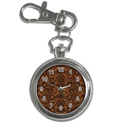 Damask2 Black Marble & Rusted Metal Key Chain Watches by trendistuff