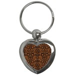 DAMASK2 BLACK MARBLE & RUSTED METAL Key Chains (Heart)