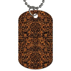 Damask2 Black Marble & Rusted Metal Dog Tag (one Side) by trendistuff