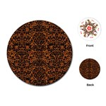 DAMASK2 BLACK MARBLE & RUSTED METAL Playing Cards (Round)