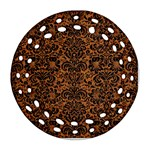 DAMASK2 BLACK MARBLE & RUSTED METAL Ornament (Round Filigree)
