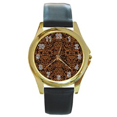 Damask2 Black Marble & Rusted Metal (r) Round Gold Metal Watch by trendistuff