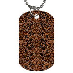 Damask2 Black Marble & Rusted Metal (r) Dog Tag (one Side) by trendistuff