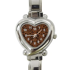 Damask2 Black Marble & Rusted Metal (r) Heart Italian Charm Watch by trendistuff
