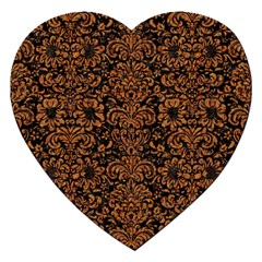 Damask2 Black Marble & Rusted Metal (r) Jigsaw Puzzle (heart) by trendistuff