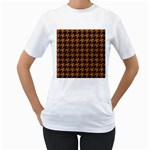 HOUNDSTOOTH1 BLACK MARBLE & RUSTED METAL Women s T-Shirt (White) (Two Sided)