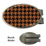 HOUNDSTOOTH1 BLACK MARBLE & RUSTED METAL Money Clips (Oval)
