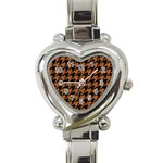 HOUNDSTOOTH1 BLACK MARBLE & RUSTED METAL Heart Italian Charm Watch