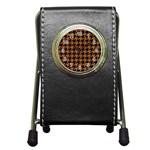 HOUNDSTOOTH1 BLACK MARBLE & RUSTED METAL Pen Holder Desk Clocks