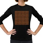 HOUNDSTOOTH1 BLACK MARBLE & RUSTED METAL Women s Long Sleeve Dark T-Shirts
