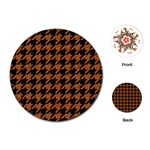 HOUNDSTOOTH1 BLACK MARBLE & RUSTED METAL Playing Cards (Round)