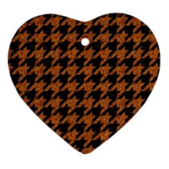 Houndstooth1 Black Marble & Rusted Metal Heart Ornament (two Sides) by trendistuff