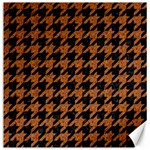 HOUNDSTOOTH1 BLACK MARBLE & RUSTED METAL Canvas 12  x 12