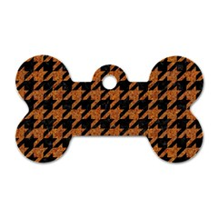 Houndstooth1 Black Marble & Rusted Metal Dog Tag Bone (two Sides) by trendistuff
