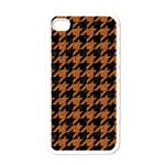 HOUNDSTOOTH1 BLACK MARBLE & RUSTED METAL Apple iPhone 4 Case (White)