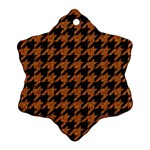 HOUNDSTOOTH1 BLACK MARBLE & RUSTED METAL Ornament (Snowflake)
