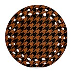 HOUNDSTOOTH1 BLACK MARBLE & RUSTED METAL Round Filigree Ornament (Two Sides)