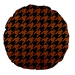 HOUNDSTOOTH1 BLACK MARBLE & RUSTED METAL Large 18  Premium Round Cushions