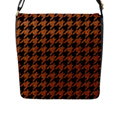Houndstooth1 Black Marble & Rusted Metal Flap Messenger Bag (l)  by trendistuff