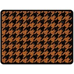 HOUNDSTOOTH1 BLACK MARBLE & RUSTED METAL Double Sided Fleece Blanket (Large)