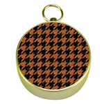 HOUNDSTOOTH1 BLACK MARBLE & RUSTED METAL Gold Compasses
