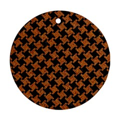 Houndstooth2 Black Marble & Rusted Metal Ornament (round) by trendistuff