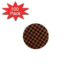 Houndstooth2 Black Marble & Rusted Metal 1  Mini Magnets (100 Pack)  by trendistuff