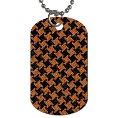 Houndstooth2 Black Marble & Rusted Metal Dog Tag (one Side) by trendistuff