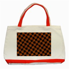 Houndstooth2 Black Marble & Rusted Metal Classic Tote Bag (red) by trendistuff